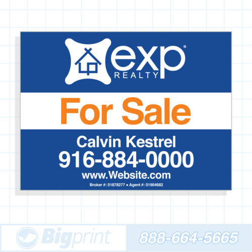 exp realty for sale sign blue 18x24