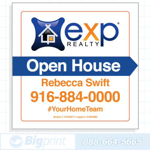 exp realty white open house sign (24 x 24 inches)