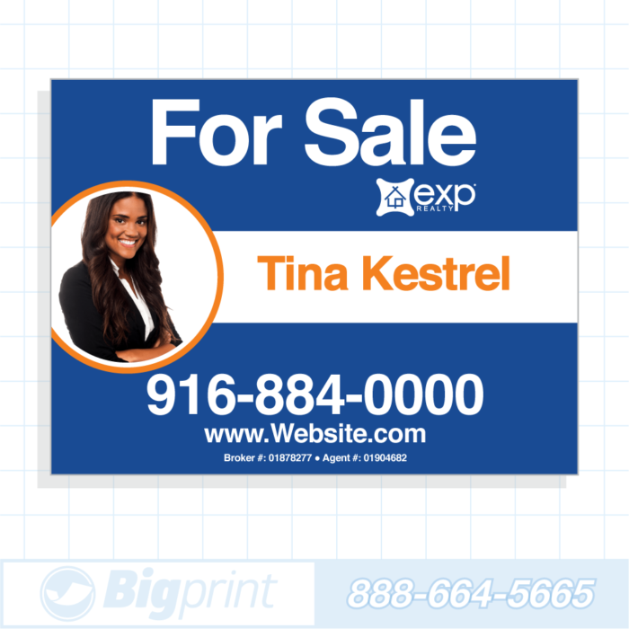 exp realty for sale sign blue photo 18x24