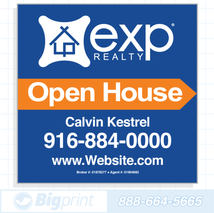 exp realty blue open house sign (24 x 24 inches)