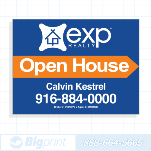 exp realty blue open house sign (18 x 24 inches)