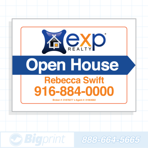 exp realty white open house sign (18 x 24 inches)
