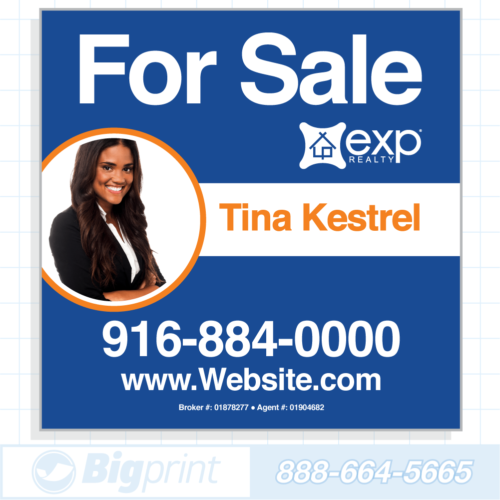 exp realty for sale sign blue photo 24x24