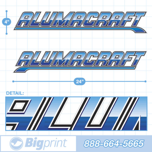 "Alumacraft Boat Decals Factory Enhanced Sticker Package with ""Deep Blue"" color product image"