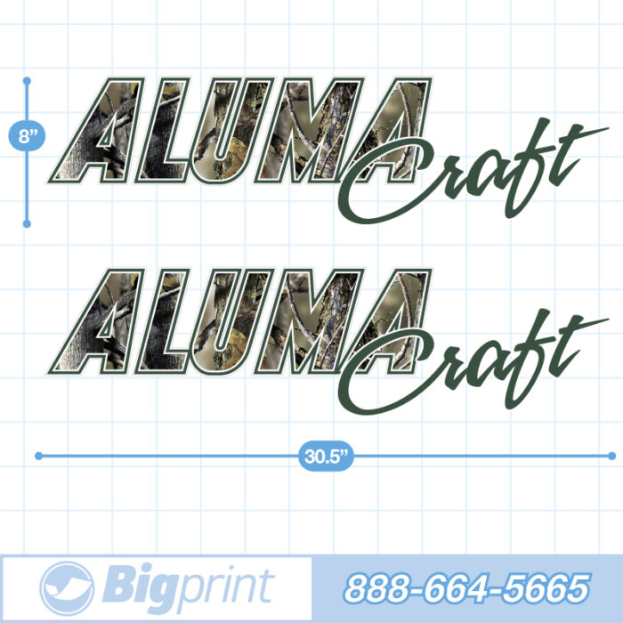 Alumacraft Boat Decals Factory Enhanced Sticker Package with Real Tree Camouflage pattern product image