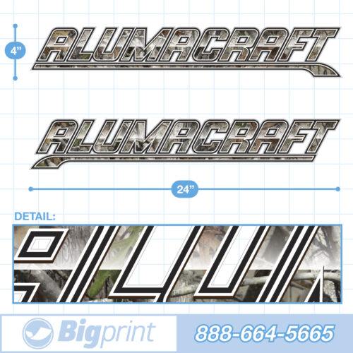 Alumacraft Boat Decals Factory Enhanced Sticker Package with True Tree Camouflage pattern product image