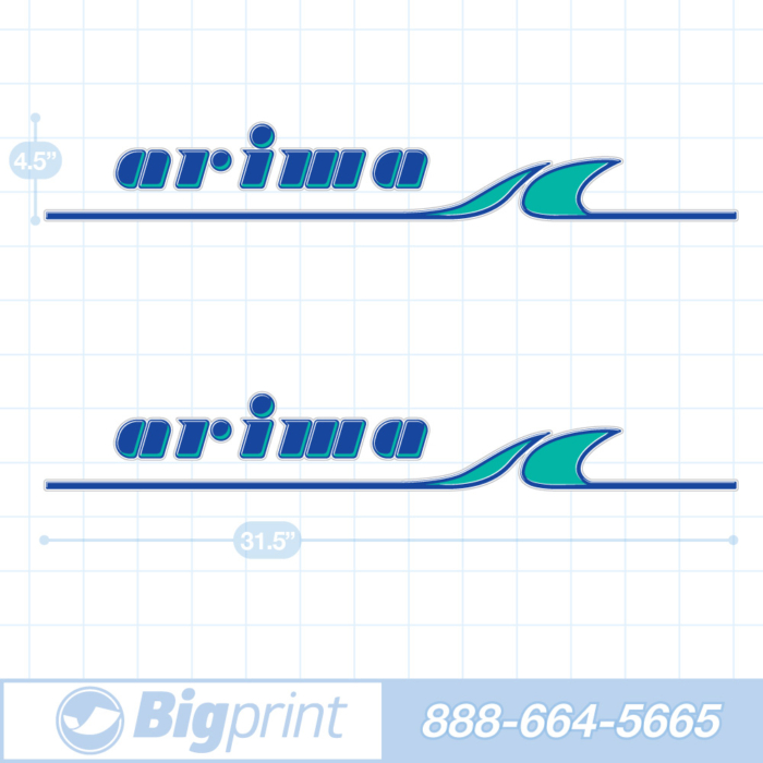 one set of two arima boat decals in original factory aqua blue colors