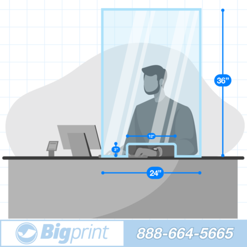easy positionable countertop sneeze guard with cutout for documents and money single person wide barrier to slow the spread of covid and airborne illness transaction