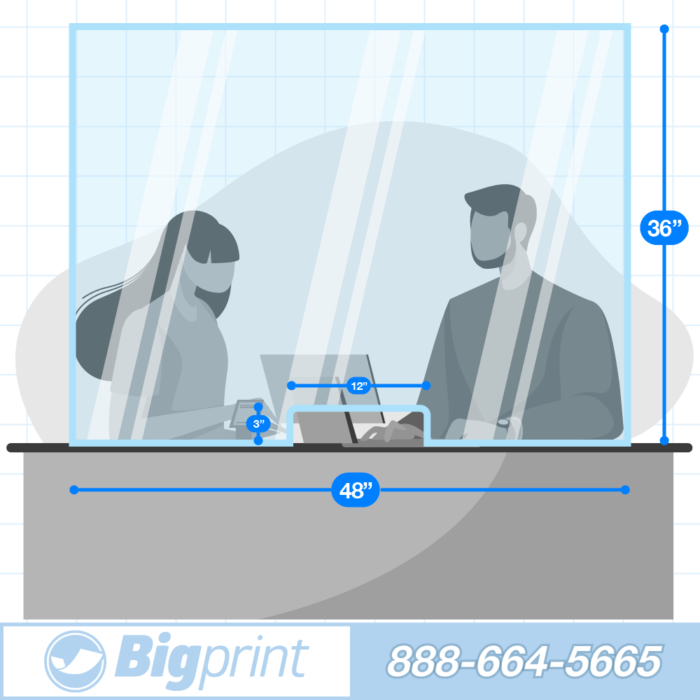 easy positionable countertop sneeze guard with cutout for transactions two person wide barrier to slow the spread of covid and airborne illness transaction