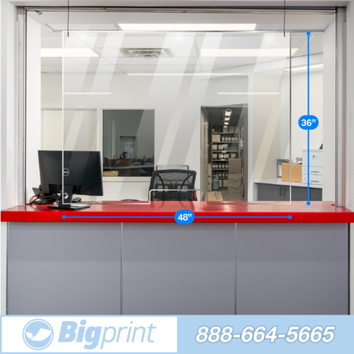 easy hanging sneeze guard with cutout two person wide barrier to slow the spread of covid and airborne illness transaction