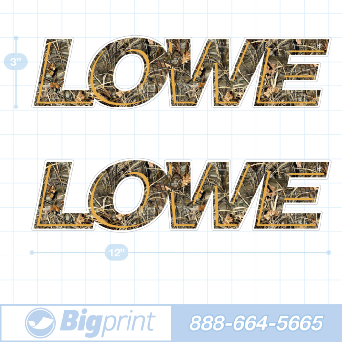 one set of two Lowe boat decals in custom camouflage and orange colors