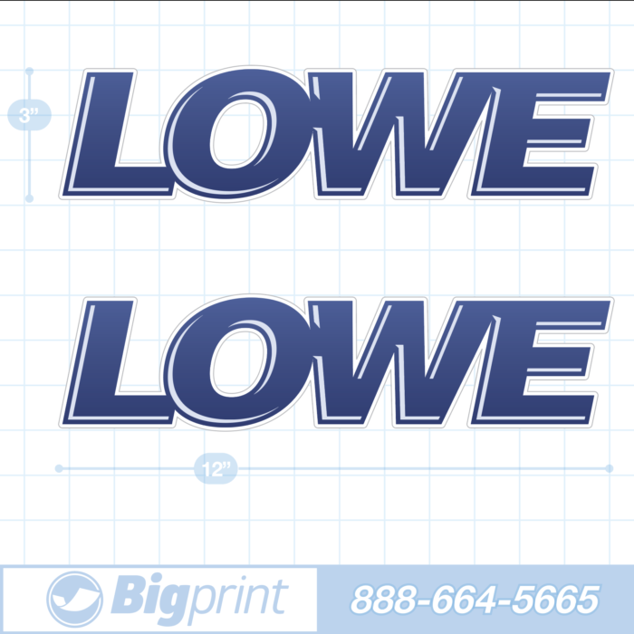 one set of two Lowe boat decals in custom navy blue 3D colors