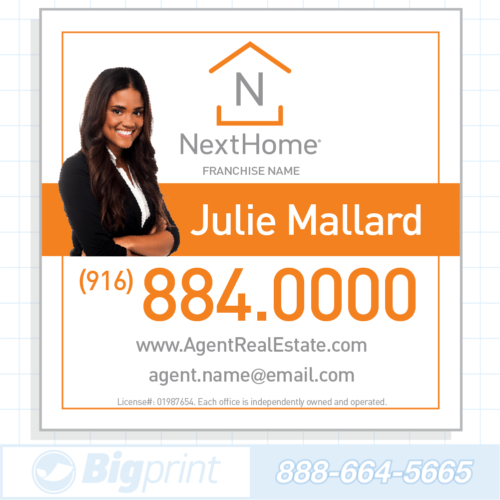 Professional white Nexthome Real Estate Photo sign 24 x 24 inches