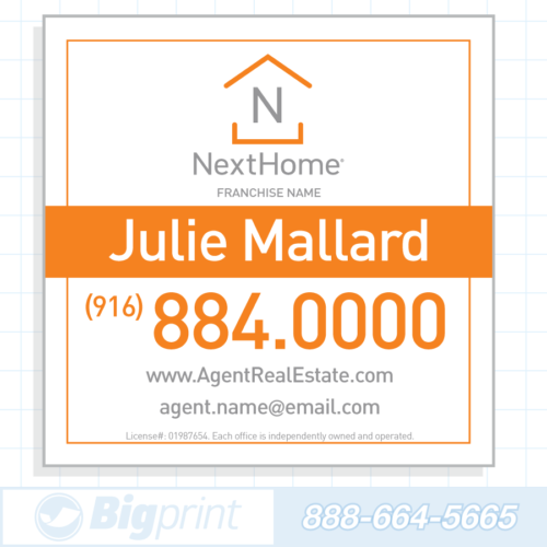 Professional white Nexthome Real Estate sign 24 x 24 inches