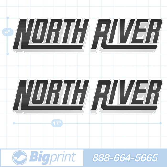 one set of two north river boat decals in custom 3D black and grey colors