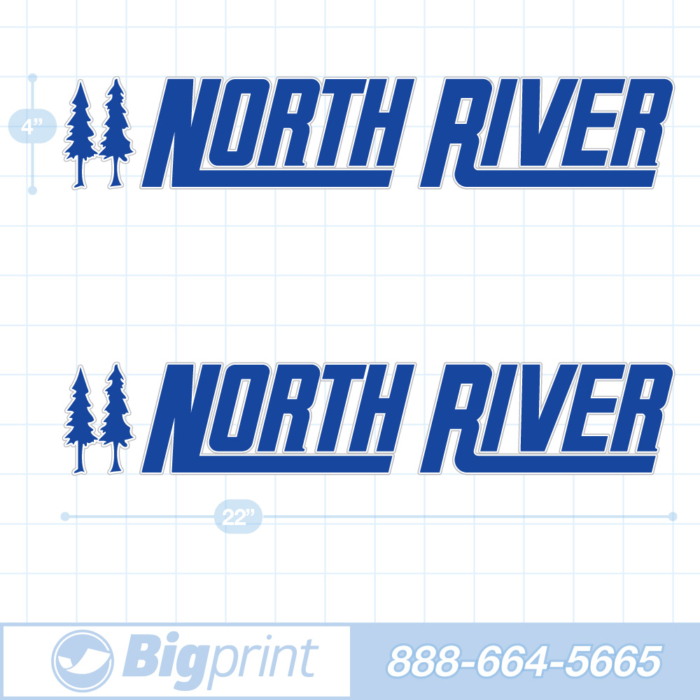 one set of two north river boat decals in custom ocean blue color