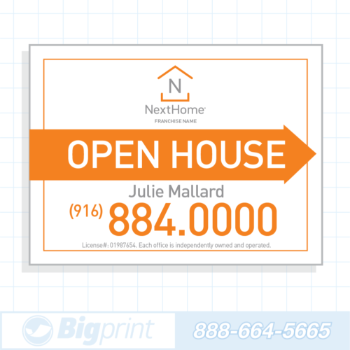 Professional white Nexthome Open House sign 18 x 24 inches