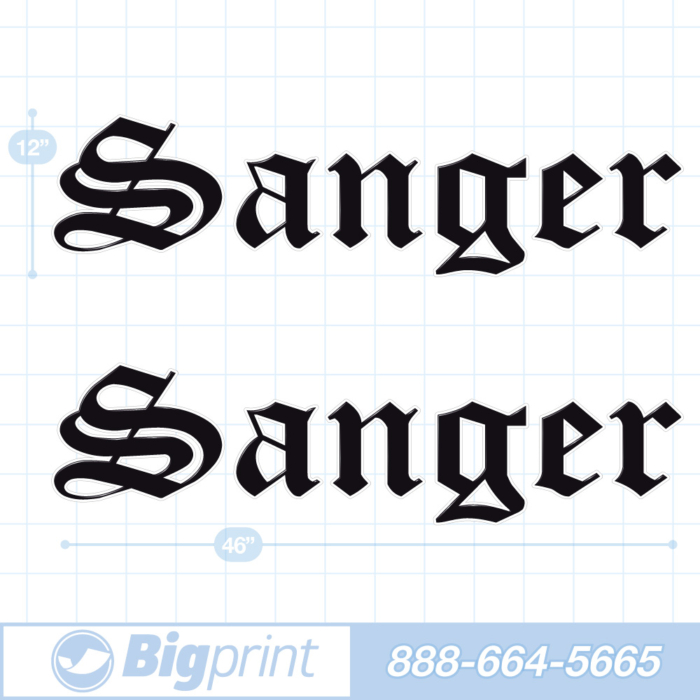 one set of two Sanger boat decals in original factory black colors