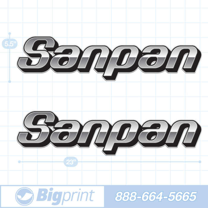 one set of two Sanpan boat decals in custom cold steel colors